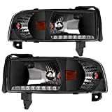 AUTOSAVER88 DRL Headlight Assembly Compatible with 94-01 Dodge Ram 1500/1994 1995 1996 1997 1998 1999 2000 2001 2002 Dodge Ram 2500 3500 (with DRL)