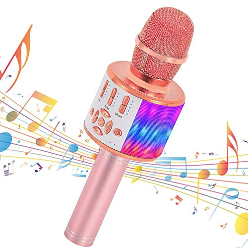 Amazmic Kids Karaoke Machine Microphone Toy 3-12 Years Old Boys Girls Portable Bluetooth Microphone Machine Handheld with LED Lights, Gift for Children's Birthday Party, Home KTV(Rose Gold)