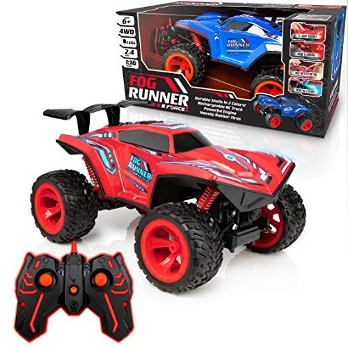 Force1 Fog Runner Truck Remote Control Car - Fast RC Truck High Speed LED Light Race Car Toy Truck, Rechargeable AWD Monster Trucks with Rear Fog Mist, 2 LED Car Light Up Shells (Red/Blue)