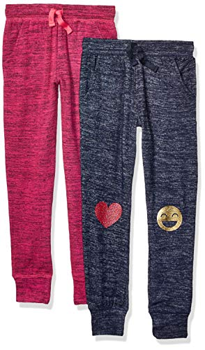 Spotted Zebra 2-Pack Cozy Knit Joggers pants, Emojis/Pink, Small (6-7)