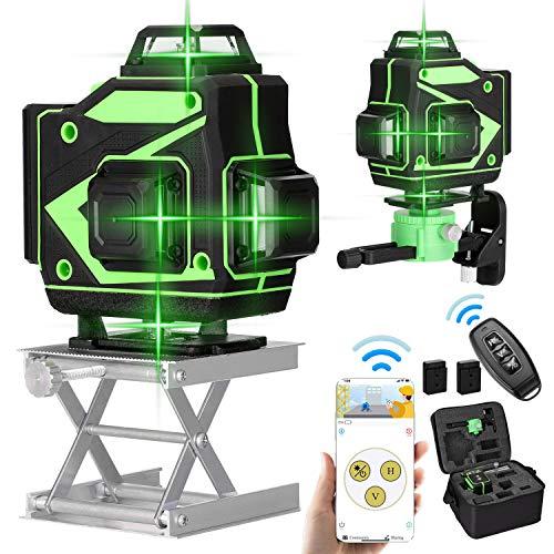 KKmoon Laser-Nivellierer, 360 °, grün, 4D, 16 Linien, 3 °, selbstnivellierend, mit 2 Akkus + Drehhalterung, Hebetisch + Eisenplatte + Wandhalterung + Clip + Fernbedienung + Ladegerät + Tasche