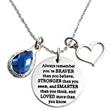 LParkin You are Braver Than You Believe Awareness Necklace Birthstone Graduation Gift Best Friend Encouragement Gifts