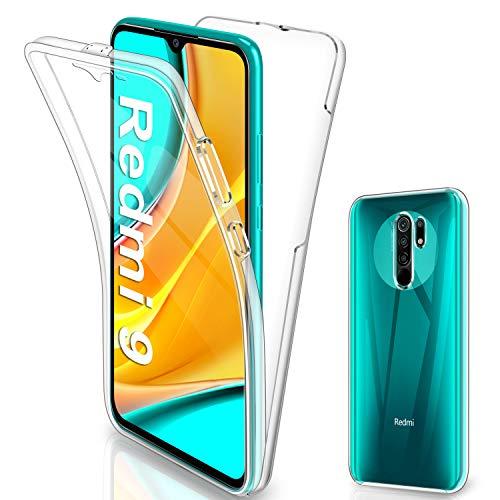Gnews für Xiaomi Redmi 9 Hülle, für Xiaomi Redmi 9 Hülle 360 Grad Full Body Front Und Rückenschutz Handyhülle Transparent Schutzhülle Durchsichtige Bumper für Xiaomi Redmi 9