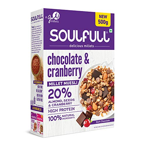 Soulfull Chocolate and Cranberry Millet Muesli, 500g