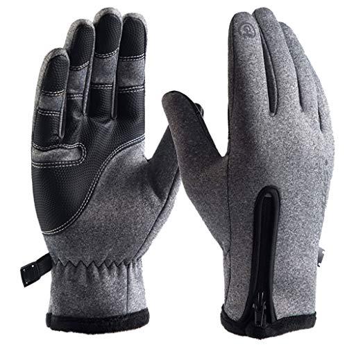 Riou Herren Fahrradhandschuhe Wasserdicht Touchscreen Handschuhe Outdoor Winddichte Rutschfest Vollfinger Thermo Winterhandschuhe