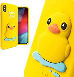 Bone Collection 3D iPhone Xs Max Case, Cute Animal Cartoon Design for Kids Girls Women, Compatible with iPhone Xs Max, Phone Qcase Series - Patti Duck (Yellow)