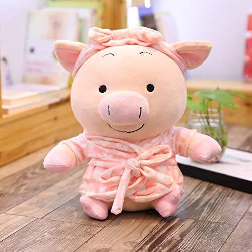 DOUFUZZ Nettes Paar Pyjamas Schwein Puppe Plüschtier Bademantel Schwein Puppe für Kinder Paare Geburtstagsgeschenk 45cm Rosa