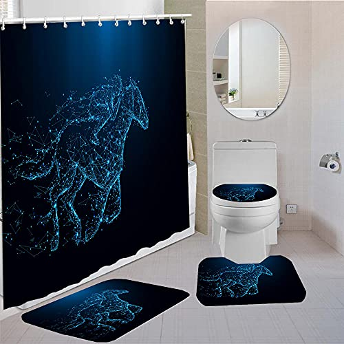 MQWEMJ Cortinas de Ducha, Caballo Negro azul180×200 cm con alfombras Antideslizantes, Tapa de Inodoro y Alfombrilla de baño, Cortina de Ducha con 12 Ganchos, Tela Impermeable