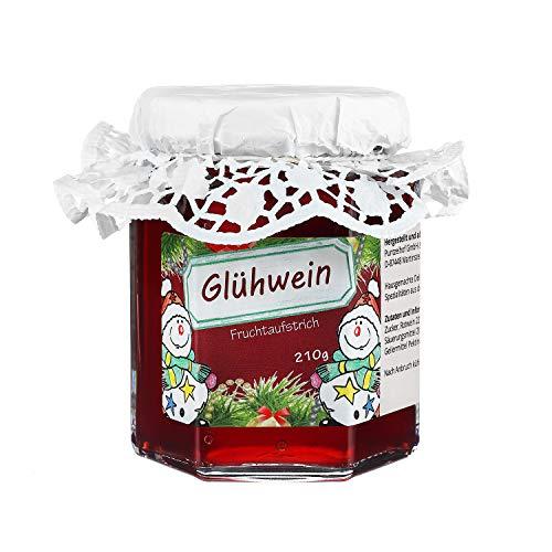 Glühwein Fruchtaufstrich aus dem Allgäu - Leckeres Weihnachtsgeschenk mit Hütchen im 210g Glas