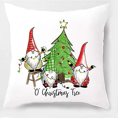 PSDWETS - Funda de cojín de algodón y poliéster para decoración de Casas de Campo, decoración de Navidad, decoración del hogar, 18 x 18 Pulgadas, diseño de Acuarela o gnomos de árbol de Navidad