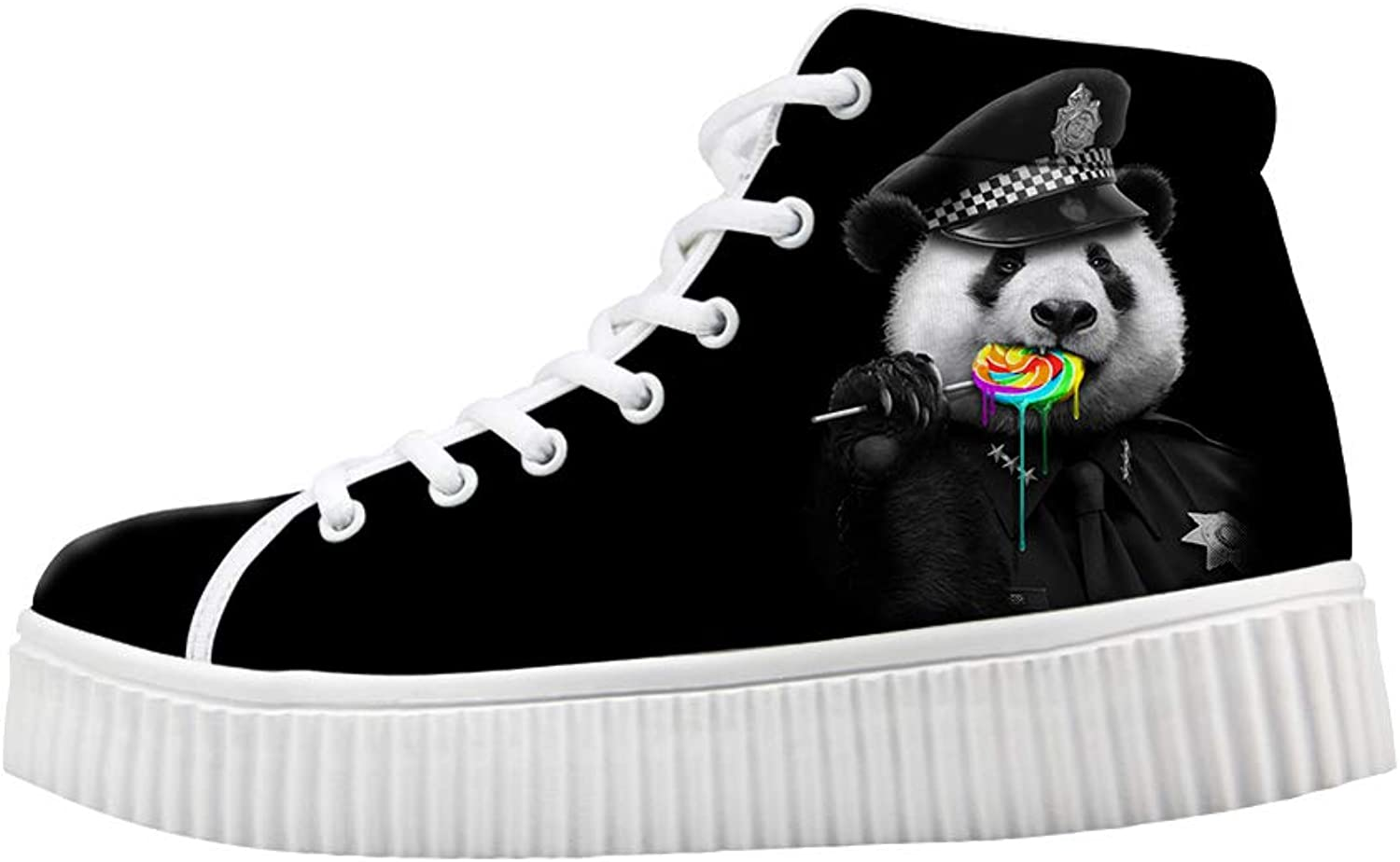 Owaheson Platform Lace up Sneaker Casual Chunky Walking shoes Women Panda Bear Rainbow Lollypop Police Cop