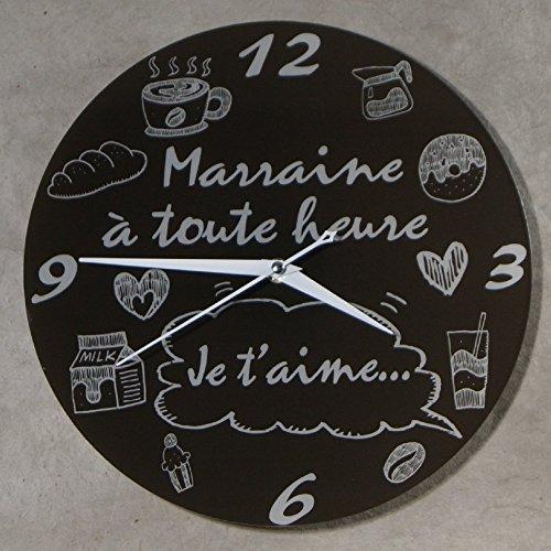 (HgMr) Horloge Je t'aime Marraine – Cadeau pour Marraine : Anniversaire, Noël, Baptême,Communion.