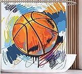 Cortina Ducha Divertida Cortina Protectora contra Cancha de Baloncesto Dibujo Pelota de Baloncesto 150*180cm para el Cuarto de baño Impermeable Y Fácil De Limpiar. Impresión 3D HD. Gancho Libre.