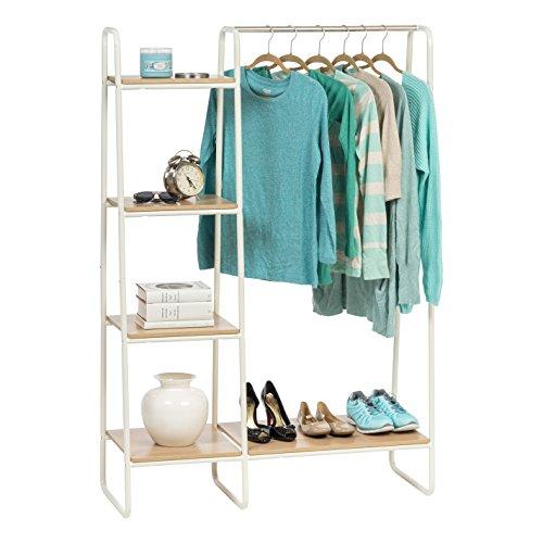 IRIS USA 596241 Metal Garment Rack with Wood Shelves, White and Light Brown PI-B3