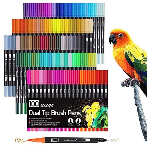 Surcotto - Rotuladores, 100 colores, rotulador de doble fibra, 1-2 mm de punta fina y 0,4 mm, juego de rotuladores para escribir a mano, bullet journal, mandala, lápices para colorear para adultos