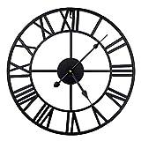 ENCOFT Reloj de Pared Decorativo Vintage Reloj Cologado con Mecanismo Silencioso Decoración para Habitación Dormitorio Oficina Bar (Negro, 47cm)