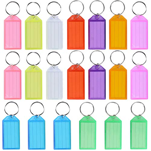 20 PCS Key Tags, Key Fobs Labels Key Rings Name Tags Key Label Tags with Split Ring Key Tags Paper Plastic Key Tags with Labels Heavy Duty for Luggage Pet Id Name Office Key Label 9 Colors
