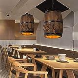WUPYI Creative Design Wood Wine Barrel Pendant Lamp Hanging Fixture Ceiling Lamp Fixtures E27 for Bar Cafe Kitchen