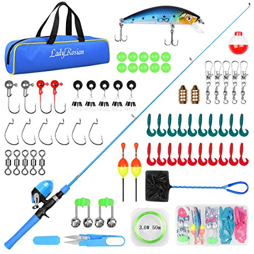 LadyRosian Fishing Rod Set for Kids - Fishing Pole Beginner's Guide - Fishing Rod and Reel Combo with Tackle Box, Fishing Net, Travel Bag -Portable Telescopic Fishing Rod for Kids, Girls, Boys (Blue)