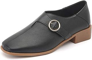 [イグル] パンプス レディース スクエアトゥ バックル ベルト 二つ着き方 太ヒール クッション シンプル エレガント カジュアル 快適 軽量 フォーマル 走れる 滑り止め 美脚 オフィス 通勤用 イギリス風 低反発 痛くない 婦人靴