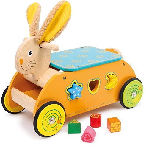 small foot 1573 Rutscher Steckspiel aus Holz, Motorikspielzeug für Babys, ab 12 Monate Motorikwagen Hase