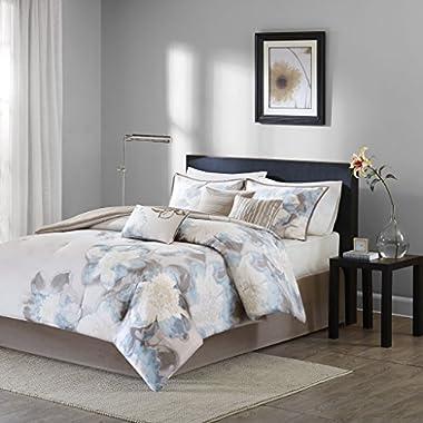 Madison Park MP10-1689 Serena Comforter Set, King, Blue