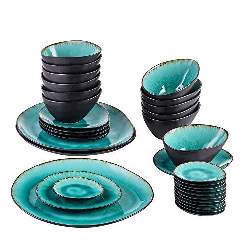 Vancasso Servierplatten, 33 teilig Aqua Servierteller aus Steinzeug, Reisslack Effekt Servier Teller mit Schalen, Kombiservice Servier Set,Blau