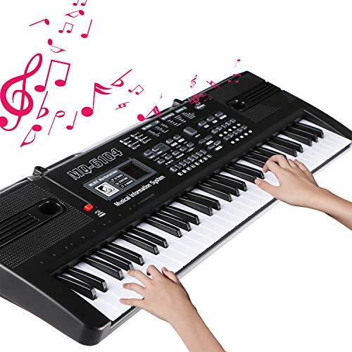 Keyboard Piano Teclado Electrónico Piano 61 Teclas Portátil USB Piano Digital Con Micrófono, Musical Digital Piano para principiantes o estudiantes (negro)