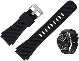 FOOKANN Silicone Sport Watch Band 22mm Compatible for Samsung Galaxy Watch 3 45mm, Galaxy Watch 46mm Gear S3 (Black)
