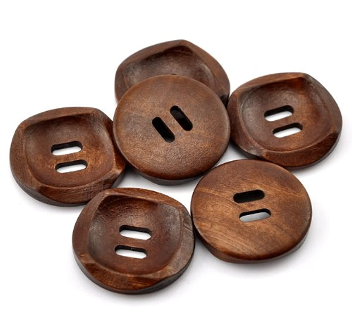 PEPPERLONELY Brand 50PC Brown 2 Hole Scrapbooking Sewing Wood Buttons 30mm (1-1/6 Inch)