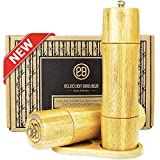 Bamboo Wooden Salt and Pepper Mill Set with Stand, Ceramic Grinder Blades with Adjustable Coarseness, 2 Pack 8-Inch Refillable Salt & Pepper Grinders Gift Set for Seasoning, Cooking, Serving & Dining