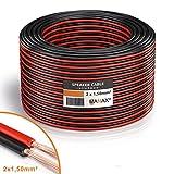 MANAX Lautsprecherkabel wei 2x1,5mm 30m Ring, rot schwarz