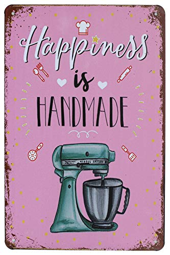 SUMIK Happiness is Handmade, Metal Tin Sign, Vintage Art Poster Plaque Kitchen Home Wall Decor