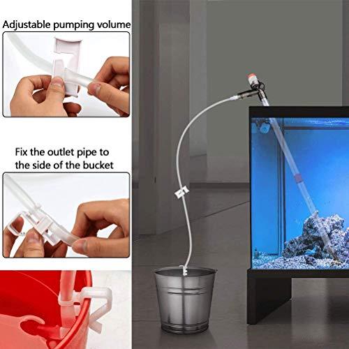 BUYGOO Aquarium Kies Reiniger - Automatische Aquarium Wasserwechsler Aquarium Vakuum Siphon Pumpe mit Extra Lange Rohr (2,07m) + Glasschaber, Einstellbare Aquarium Staubsauger Wasserfilter