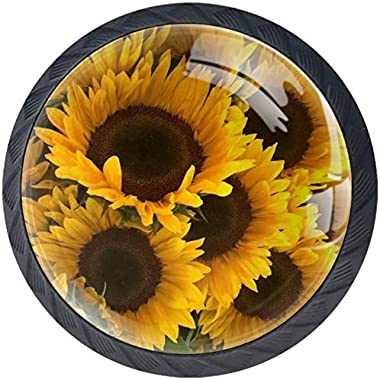 """4 Pack Round Kitchen Cabinet Knobs Pulls Sunflower (1-37/100"""" Diameter) - Dresser Drawer/Door Hardware - DIY Pattern Customization"""