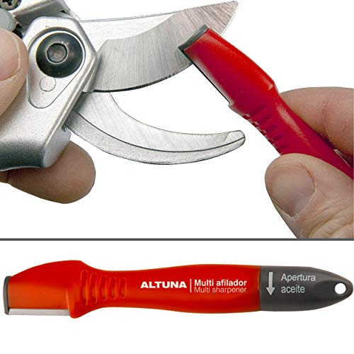 Altuna Professional Blade Sharpener | Ideal Garden Tool for Sharpening Knife, Pruning Shears, Hedge Scissor & Loppers | Tungsten Carbide Blade with Oil Brush