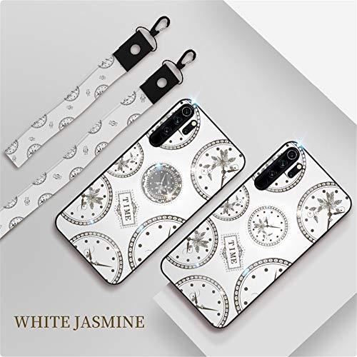 La selección de Cici For Xiaomi redmi Nota 8 Pro Patrón Reloj de Moda Lover cáscara del teléfono móvil con el Soporte del/de la Mano de la Cuerda/cordón (de Oro Rosa) (Color : White)
