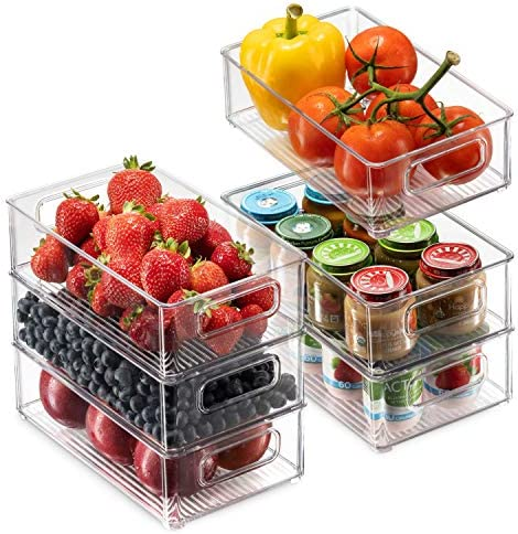 Set Of 6 Refrigerator Organizer Bins Stackable Fridge Organizers with Cutout Handles for Freezer product image