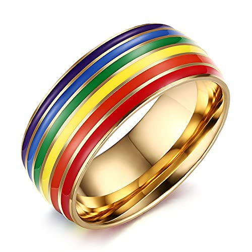ZFAYFMA Pulsera LGBT, Acero Inoxidable 10 mm Anillo de Orgullo Gay Rainbow Rank Anillo y Pareja de Mujeres Anillos de Boda LGBT, Collar Gay del Arco Iris, Collar a Juego Gold-5.4cm