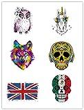 6 piezas Transferencia de CalorPegatinasPuede usarse como mujeres,hombres,ropacamiseta,jeans, calavera de dibujos animados, bandera, pájaro
