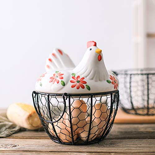 Kitchen Storage Metal Wire Egg Basket with Ceramic Farm Chicken Cover Egg Holder/Organizer Case/Container