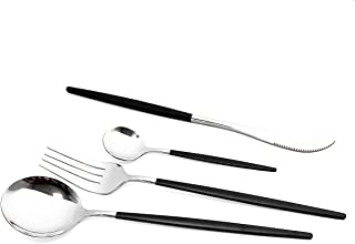 40-Piece Silverware Set 18/10 Stainless Steel Reusable Utensils Forks Spoons Knives Set, Mirror Polished Cutlery Flatware ...