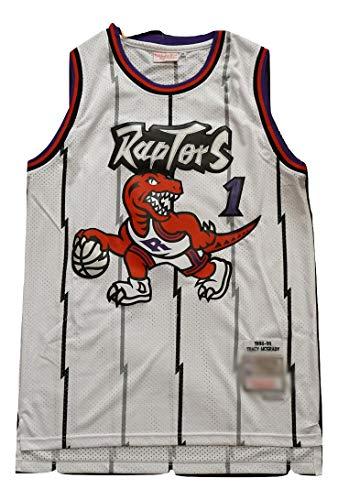 WOLFIRE WF Camiseta de Baloncesto para Hombre, NBA,Toronto Raptors #15 Vince Carter #1 Tracy McGrady Bordado, Transpirable y Resistente al Desgaste Camiseta para Fan Hardwood Classics (MC Blanco, XL)