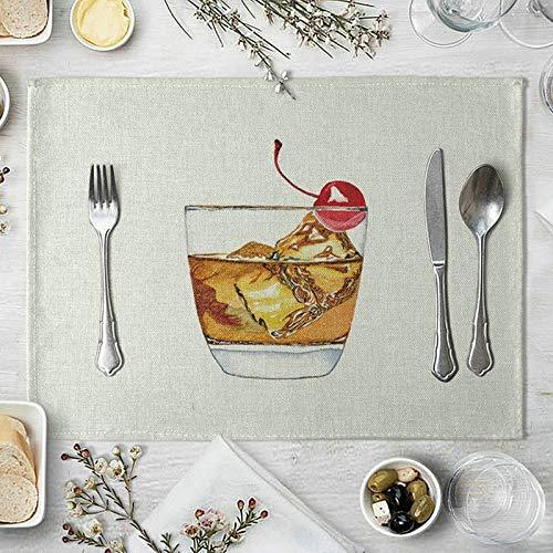 Amody 2 Pieces Tapis de Table Coton Lin, Set de Table 40x30cm Boisson Glacée et Cerise Lavable Napperons pour Cuisine, Jardin, Salon ou Salle à Manger Orange Rouge