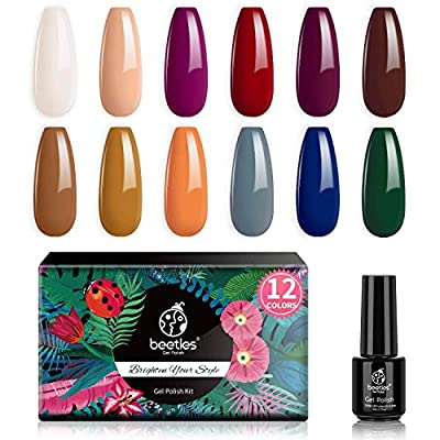 Beetles 6 Pc Gel Nail Polish Kit-Summer Colors Collection Nude Grey Red Marnoon Jelly Glitter Gel Polish Set Soak Off UV LED Nail Polish Gel Nail Art Salon Starter Gel Manicure Kit Gift Set
