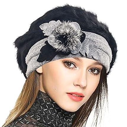 VECRY Mujeres Lana Boinas Angola Gorro Casquete Invierno Sombrero (Negro)