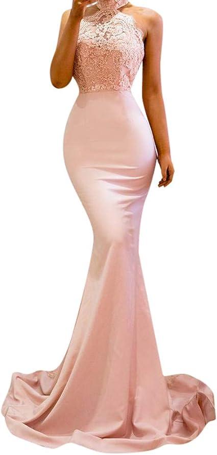 Dianli Sexy Armelloses Hangendes Nackenkleid Tasche Hufte Schmales Eng Anliegendes Rosa Kleid Damen Elegantes Abendkleid Rose Small Amazon De Bekleidung