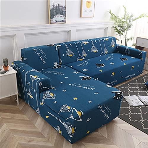 WXQY Funda de sofá geométrica Funda de sofá elástica Funda de sofá Chaise de Esquina en Forma de L Funda de sofá Antideslizante de protección para Mascotas A3 2 plazas