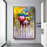 Refosian Abstract Girls Holding Umbrella Pinturas al óleo Impresión en lienzo Carteles artísticos Imágenes de arte de pared moderno Decoración del hogar 60x90cm Sin marco