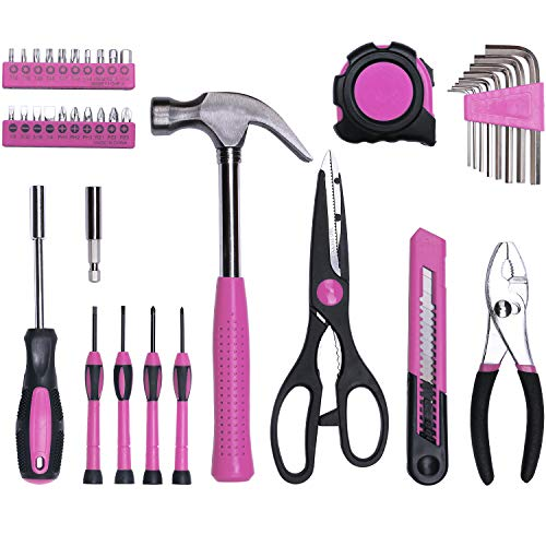 40-Piece All Purpose Household Pink Tool Kit for Girls, Ladies and Women - Includes All Essential Tools for Home, Garage, Office and College Dormitory Use